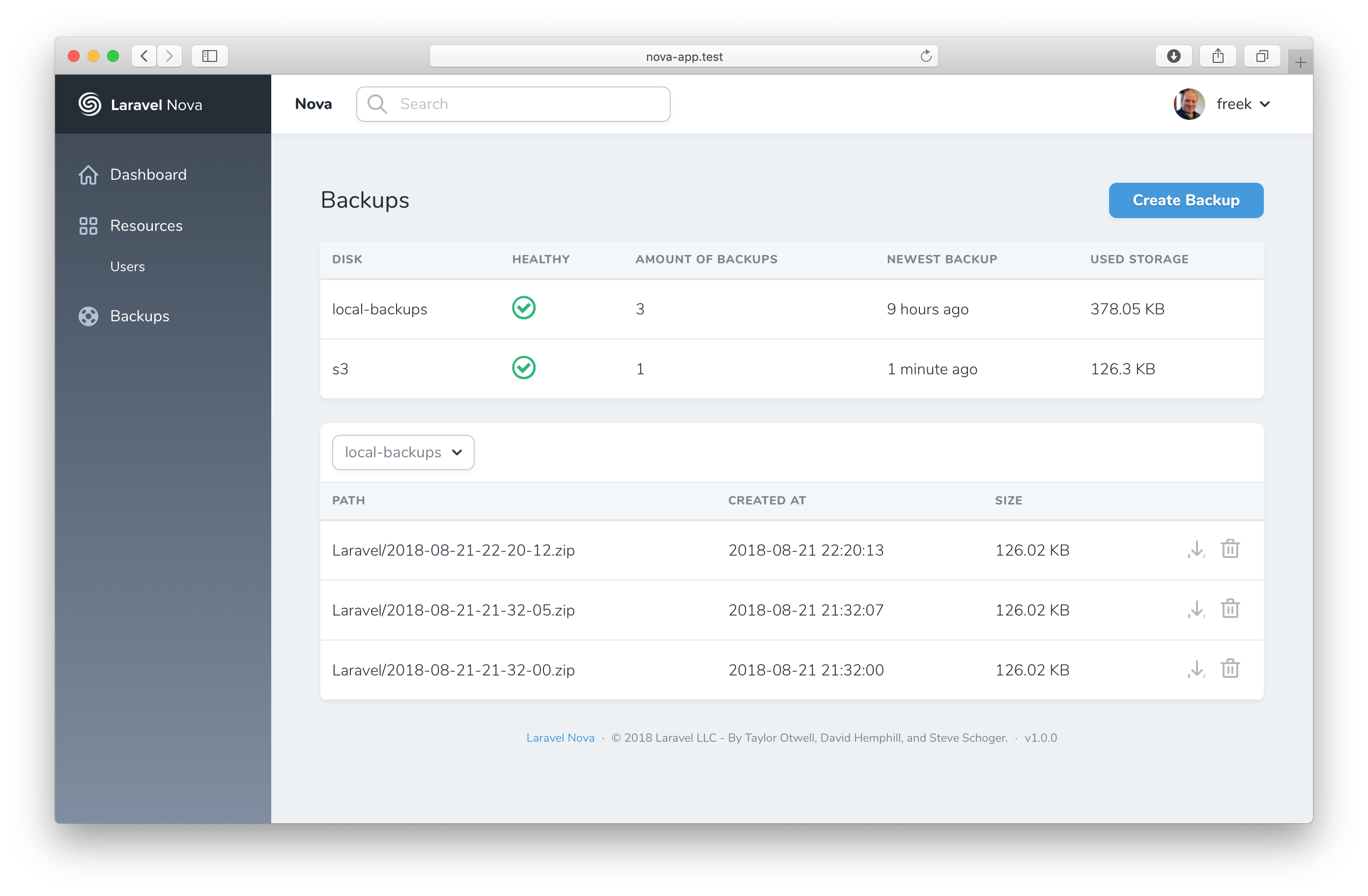screenshot of the backup tool